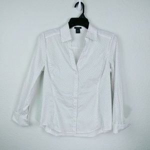 Ann Taylor pock a dot blouse with cuff sleeves.
